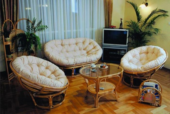 Мягкая мебель из ротанга в интерьере